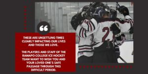 Ramapo Ice Hockey message about Covid-19
